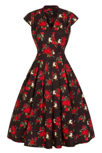 Vintage red rose Eva dress