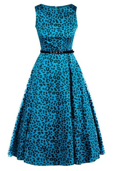 Lady-Vintage-blue-leopard-hepburn-dress