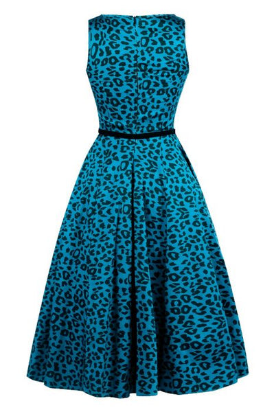 lady-vintage-hepburn-dress-blue-leopard-back