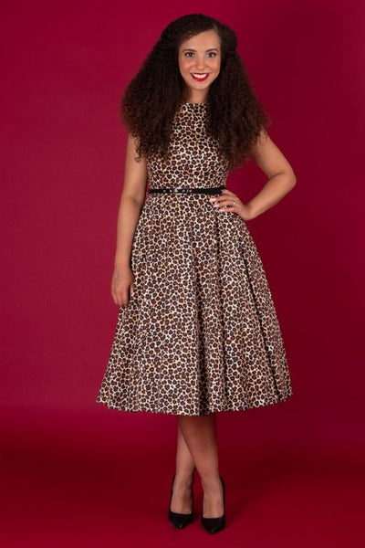 Lady Vintage leopard print Hepburn dress NZ