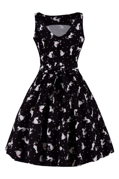 lady-vintage-tea-dress-ditsy-cats-back