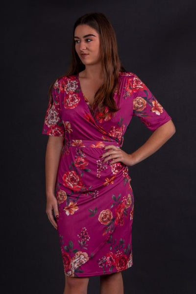 Lady-vintage-yvonne-crimson-floral-dress-nz