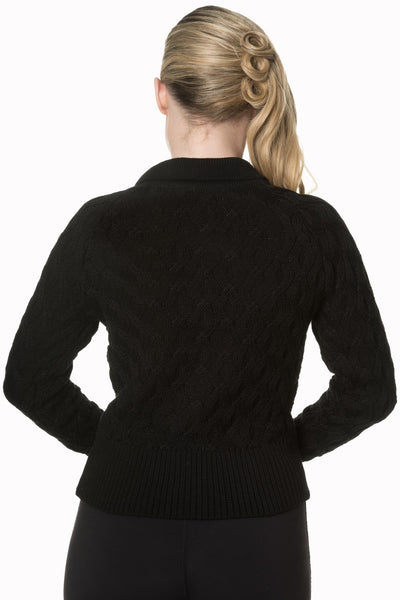 Black Crystal cable knit cardigan