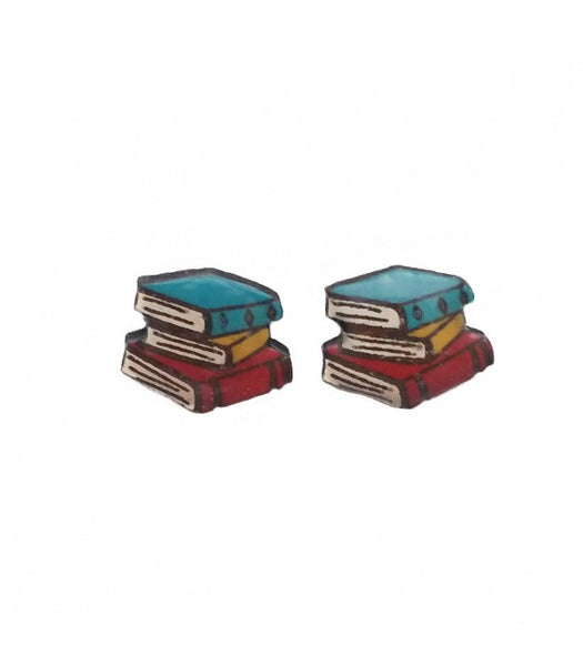 Bright book stack earrings