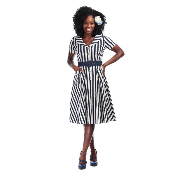 Brette dress in navy and white stripe