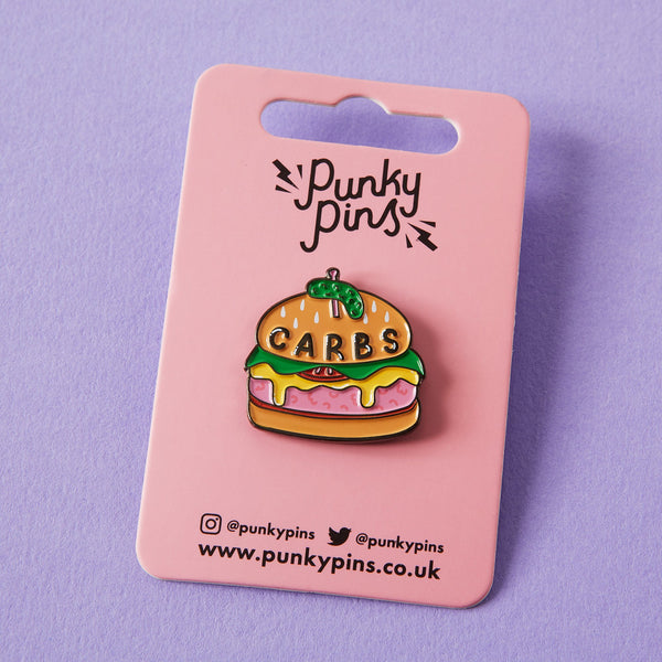 carbs burger enamel pin Punky Pins
