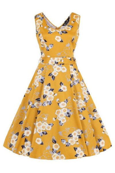 Lady Vintage Charlotte yellow floral dress NZ