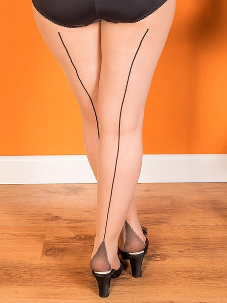 What Katie Did stockings black and champagne back seam tights close up view