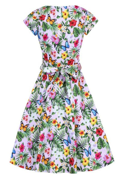 Lady Vintage summer floral pink Day dress back