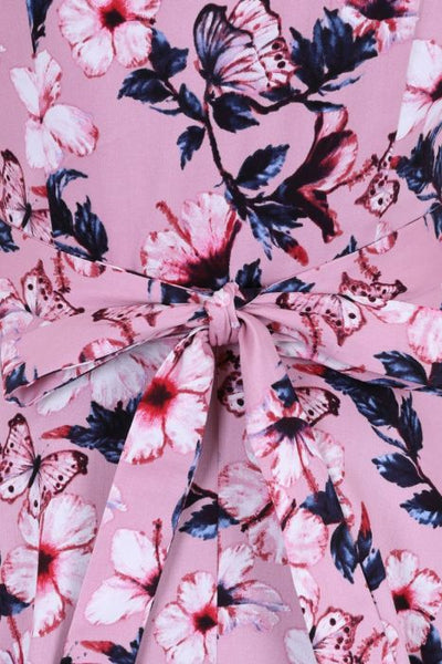 Lady Vintage pink Florence dress bow detail