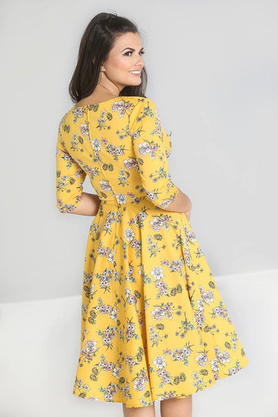 Hell Bunny Muriel yellow floral 50s dress back