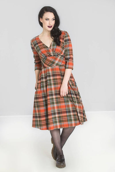 Oktober-orange-tartan-hell-bunny-dress
