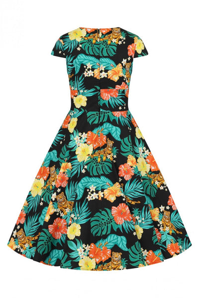 Hell-bunny-bali-tiger-50s-dress-back