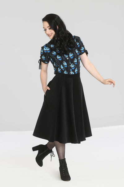 Hell Bunny black corduroy Jefferson skirt pockets