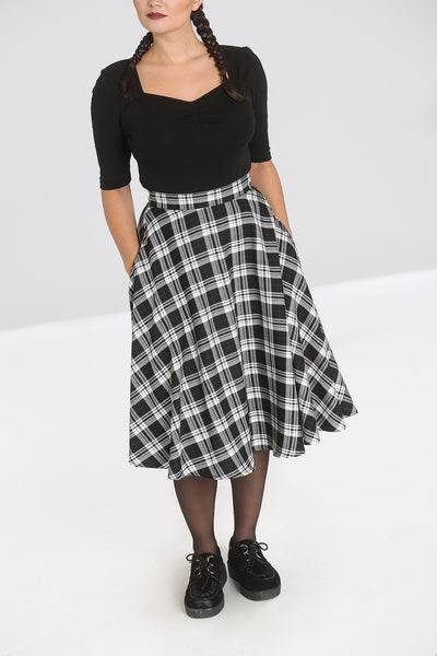 hell bunny black and white manchester tartan skirt pockets NZ