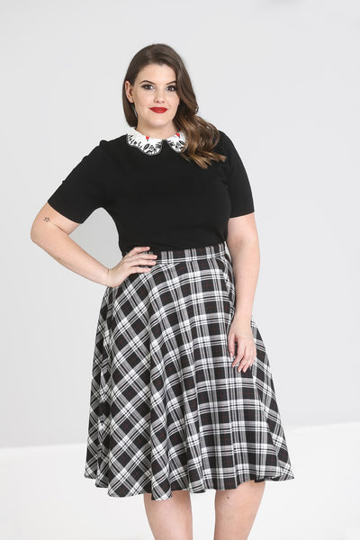 Manchester tartan black and white circle skirt plus size NZ