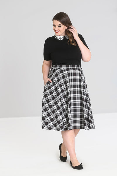plus size Hell Bunny Manchester tartan circle skirt