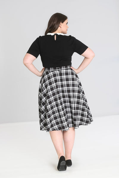 plus size Hell Bunny Manchester tartan circle skirt back