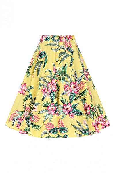 hell-bunny-yellow-kalani-50s-skirt-back