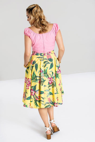 hell-bunny-yellow-kalani-skirt-back