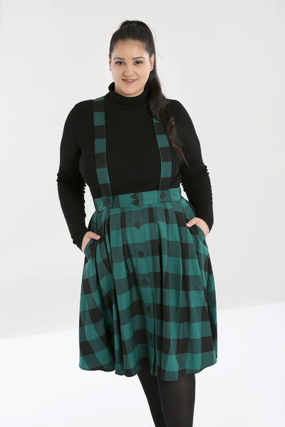 plus size green black check teen spirit pinafore