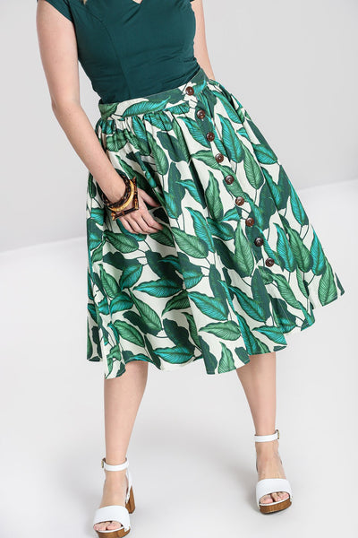 rainforest-green-ivory-gathered-skirt-front