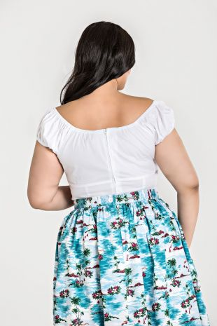 Hell Bunny plus size white Melissa top back
