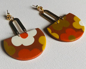 polymer clay 60s retro mustard floral earrings