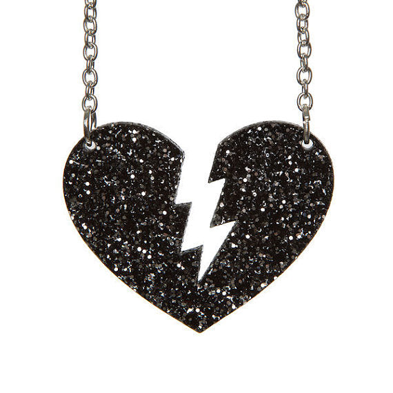 Broken Heart Necklace Glitter