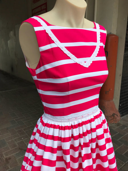 Wonderland dress in pink stripe
