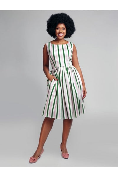 Candice strawberry striped swing dress