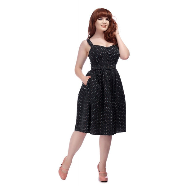 Collectif clothing Jemima swing dress with multi coloured polka dots NZ