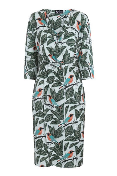 Lady Vintage botanical birds print Kalita kimono dress NZ