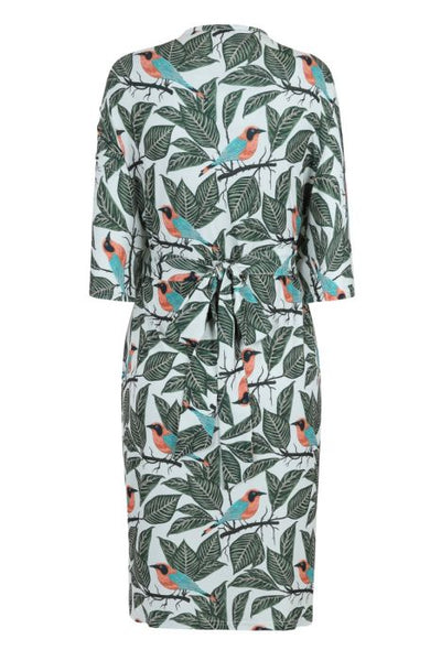 Lady Vintage botanical birds print Kalita kimono dress back NZ