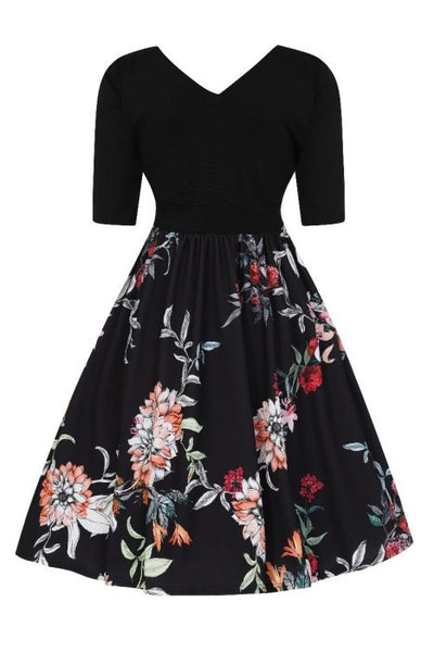 Lady Voluptuous Layla dress in Autumn floral back