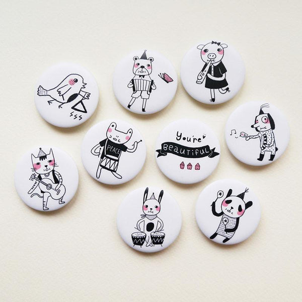 musical animal badges Minifanfan NZ
