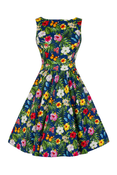 Lady Vintage navy summer floral teal dress NZ