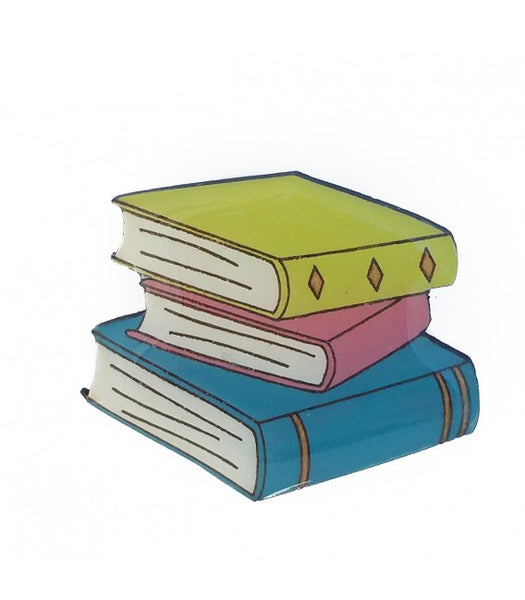 Pastel book stack brooch