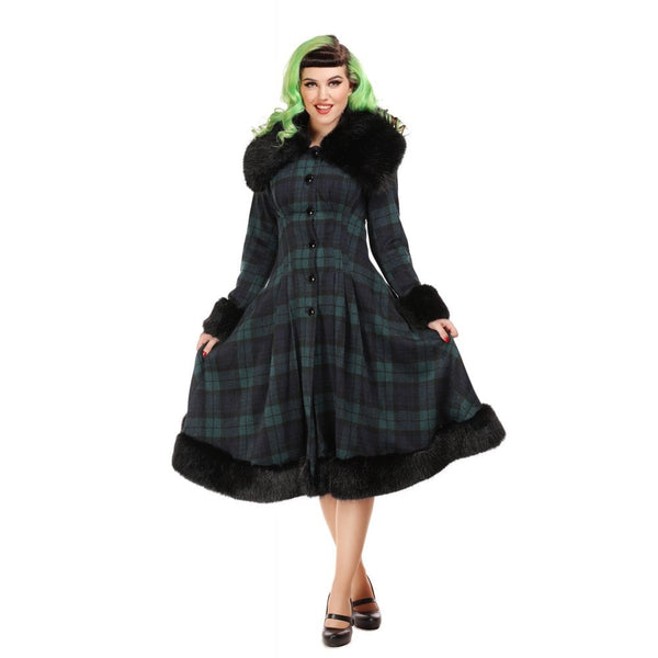 Blackwatch tartan Collectif Pearl coat NZ