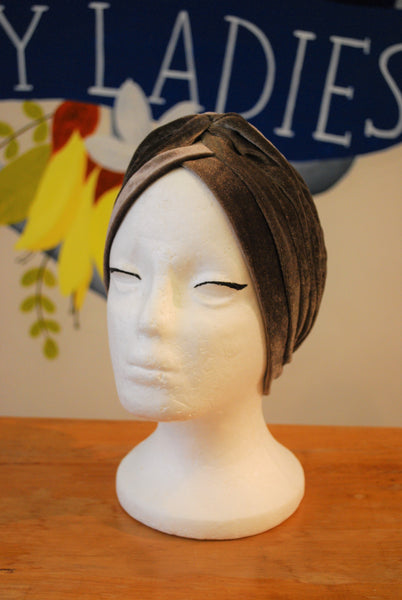 pewter vintage velvet turban NZ