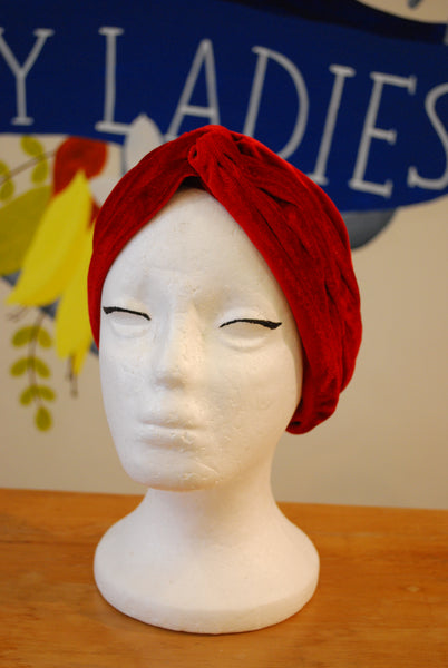 red velvet turban vintage NZ