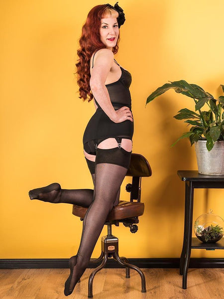 WHat Katie Did 40 denier black seamed stockings modeled by Katie herself