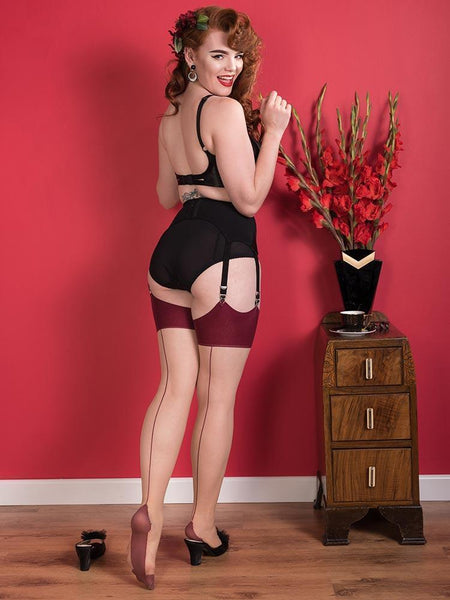 What Katie Did claret seamed stockings back view tall