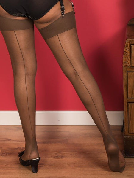 Coffee glamour seamed stockings
