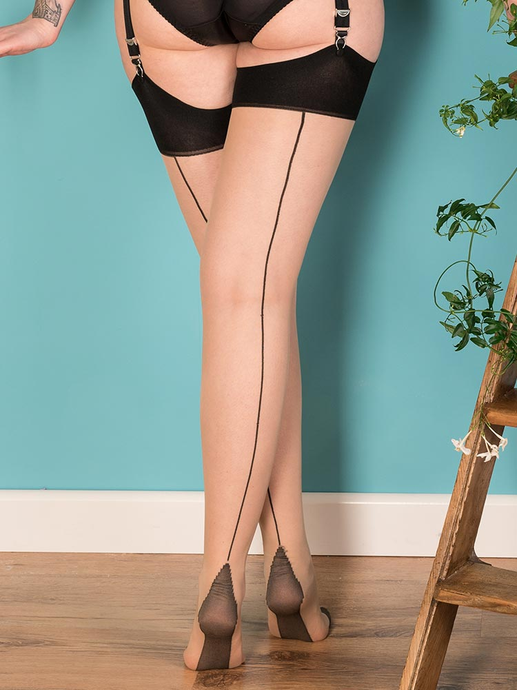 b27ccca69 What Katie Did black contrast glamour stockings NZ ...
