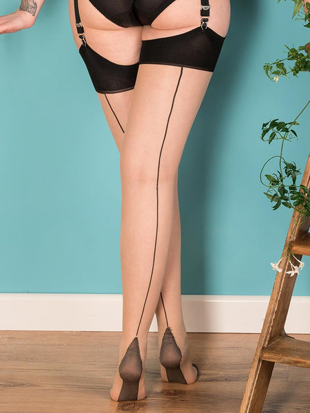 What Katie Did black contrast glamour stockings NZ