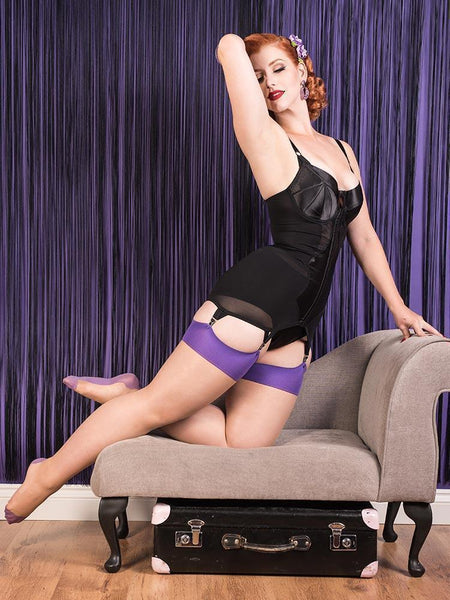 Miss Victory Violet wearing purple What Katie Did seamed stockings