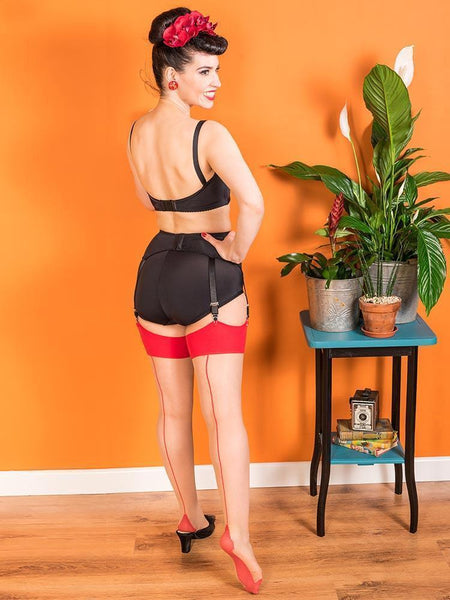 What Katie Did red seamed stockings back view