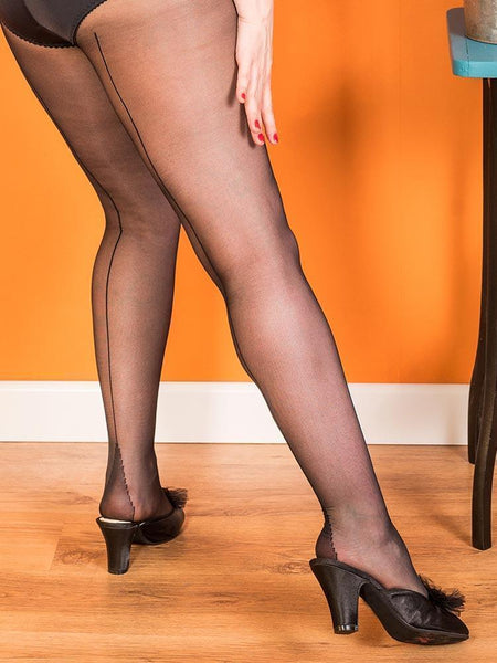 What Katie Did black back seamed tights close up