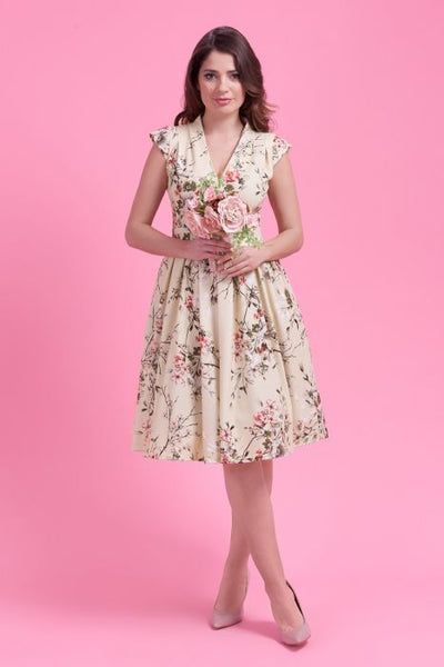 cream floral eva dress Lady Vintage modeled